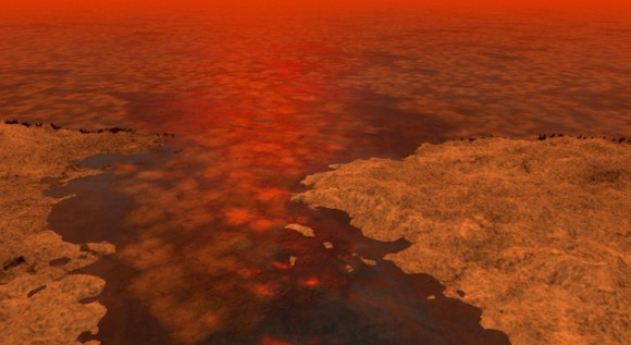 This artist's concept envisions what hydrocarbon ice forming on a liquid hydrocarbon sea of Saturn's moon Ti