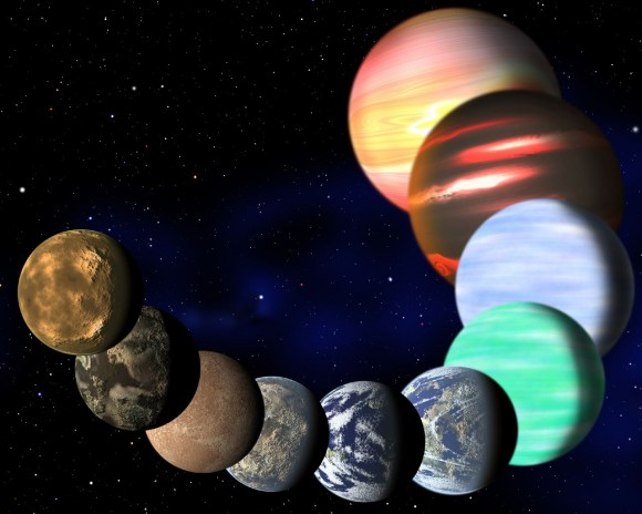 This artist&#039;s illustration represents the variety of planets being detected by NASA&#039;s Kepler spacecraft. Credit: C. Pulliam &amp; D. Aguilar (CfA)