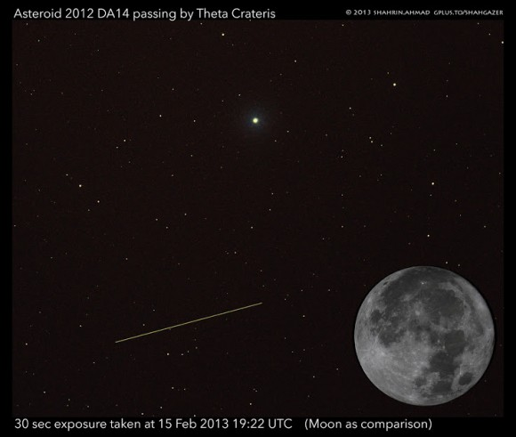 A 30 second exposure of Asteroid 2012 DA14 passing by Theta Crateris on Feb. 15, 2013 at 19:22 UTC, as seen from Malaysia. The Moon is added for comparison.Credit: Shahrin Ahmad