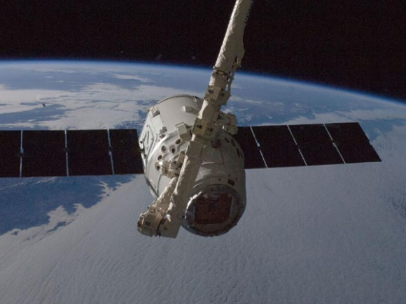 Capture of the Dragon during the October 2012 CRS-1 mission. (Credit: NASA/ISS).