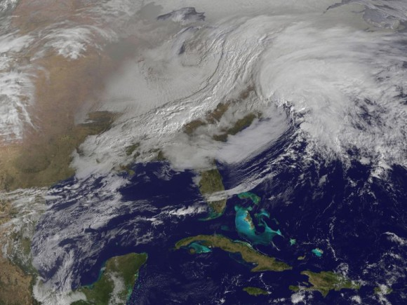 GOES-13 satellite view of the eastern US on Feb. 8 (NASA)