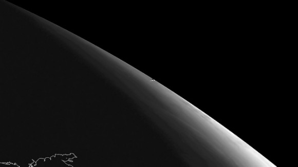 An image from the SEVIRI instrument aboard the Meteosat-10 geostationary satellite. The vapor trail left by the meteor that was seen near Chelyabinsk in Russia on 15th February 2013 is visible in the center of the image. Original data Copyright EUMETSAT 2013