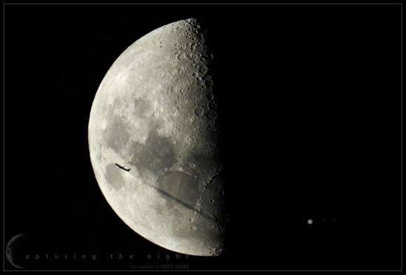 'Fly Me to the Moons' -- a view of the Moon with Jupiter and three Galilean moons, along with a passing airplane. Credit and copyright: Greg Gibbs.