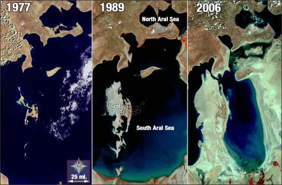 The Aral Sea has shrunk to half its size in just 40 years. Credit: Landsat