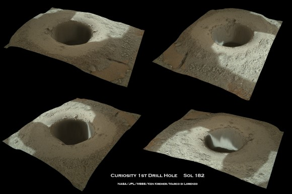 Image collage show Curiosty's first bore hole drilled on Feb. 8, 2013 (Sol 182). Credit: NASA/JPL-Caltech/MSSS/Marco Di Lorenzo/KenKremer (kenkremer.com)