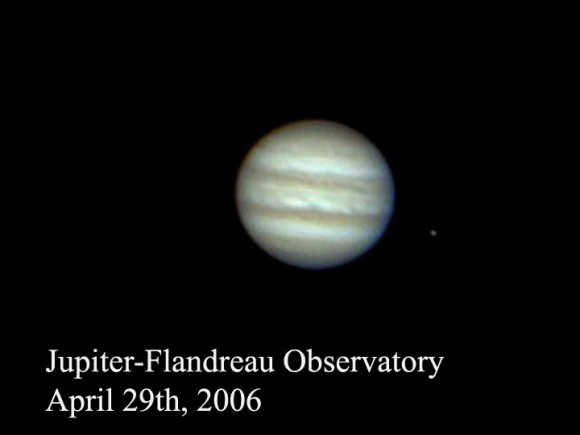 "Image of Jupiter and Io taken with the Flandrau Observatories' 16"" reflector. (Photo by Author)."
