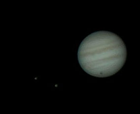 Io and Europa along with Jupiter imaged last month by the author (note the shadow transit).
