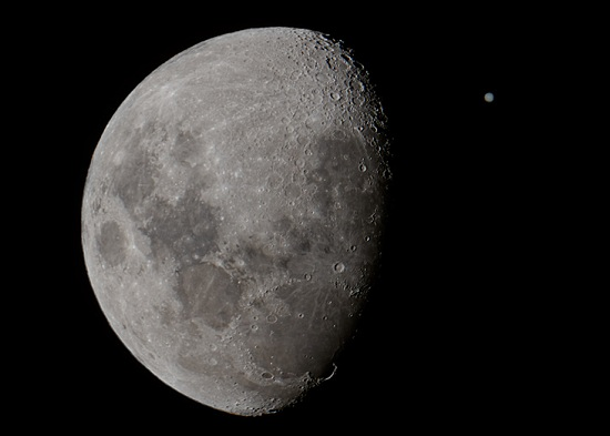 The Moon versus Jupiter during the previous occultation of the planet last month. (Image courtesy of Luis Argerich at Nightscape Photography; used with permission).  