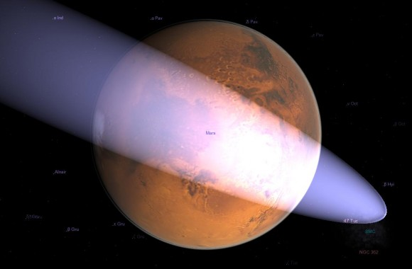 Simulation of the close approach of C/2013 A1 to Mars in Celestia using info from the Minor Planet Center.  Credit: Ian Musgrave/Astroblog.