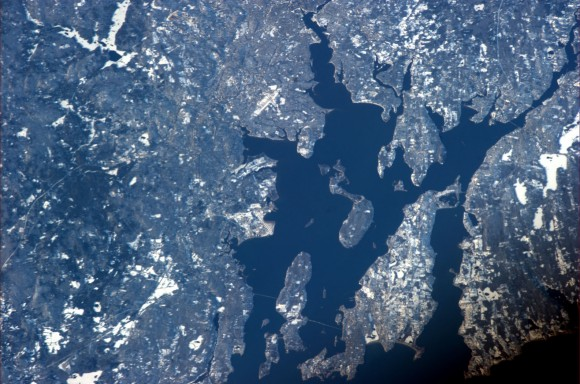 View of Rhode Island from the ISS, captured by Expedition 34 Commander Kevin Ford. Providence is just past the top center edge. (NASA)