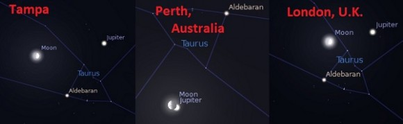 The position of the Moon &amp; Jupiter as seen from Tampa (Feb 18th, 7PM EST), Perth, (Feb 18th 11:30UT) &amp; London  (Feb 18th at 19UT). Created by the author using Stellarium.