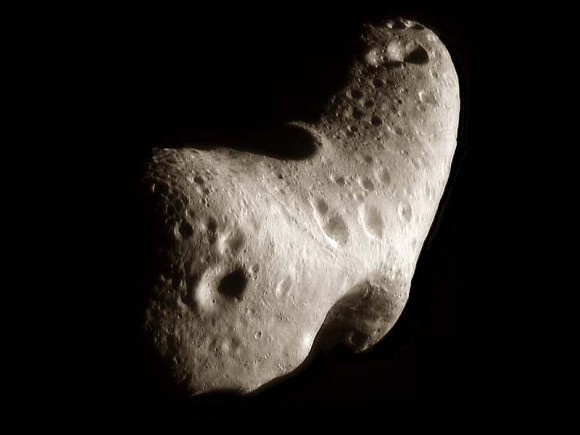 Near-Earth asteroid Eros imaged from NASAs orbiting NEAR spacecraft. Credit: NASA