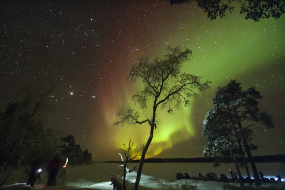 Aurora borealis over Lake Inari in Finland. Shot on 9th Feb. 2013 during #AuroraTweetup. Credit and copyright: Martin Stojanovski.