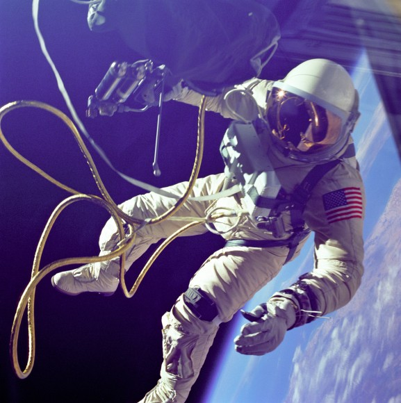 Ed White did the first American spacewalk in 1965. Credit: NASA