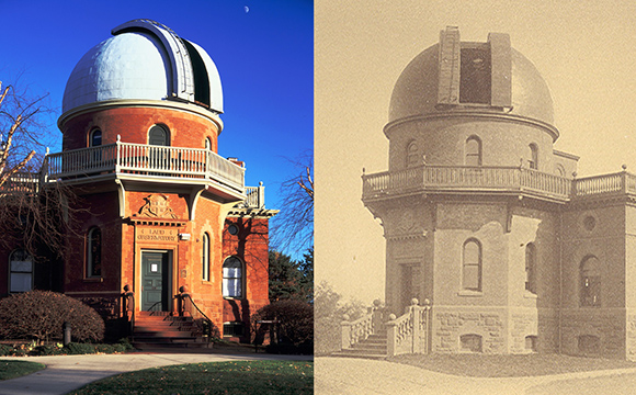 Ladd Observatory today and after its opening in 1891. (Brown University)