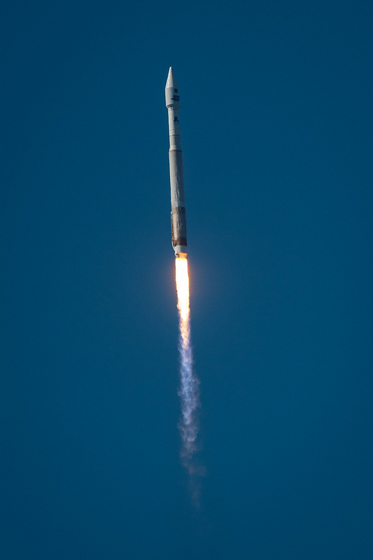 The United Launch Alliance (ULA) Atlas-V rocket with the Landsat Data Continuity Mission (LDCM) spacecraft onboard is seen as it launches on Monday, Feb. 11, 2013 at Vandenberg Air Force Base, California. Credit: NASA