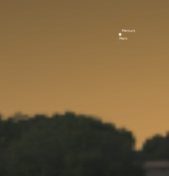 Mercury and Mars on February 8, 2013. See how close they'll be? Image credit: Stellarium.