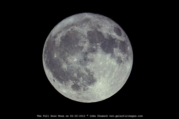 The full Snow Moon on 02-25-2013 as seen from  Dayton, Ohio USA. Credit and copyright: John Chumack.