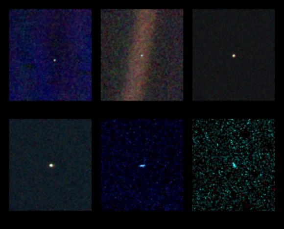 Venus, Earth, Jupiter, Saturn, Uranus and Neptune as seen by Voyager 1 on Valentine's Day in 1990