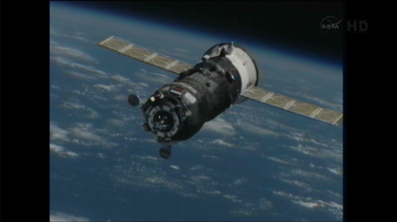 Progress 50 approaching the International Space Station on Feb. 11, 2013. Via NASA TV.
