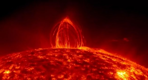 Screenshot of a dazzling magnetic display on the Sun, a phenomenon known as coronal rain. Credit: NASA/SDO