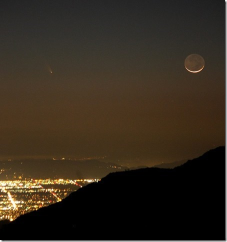 Comet PANSTARRS from 3/12/2013 at about 7:50 pm. up on Mt. Wilson above Los Angeles. Credit: Tim Song Jones.