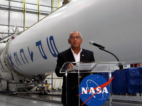 NASA Administrator Charles Bolden addresses the media at SpaceX's main hangar in Cape Canaveral, FL. The sequester will affect both NASA and SpaceX. Credit: NASA.