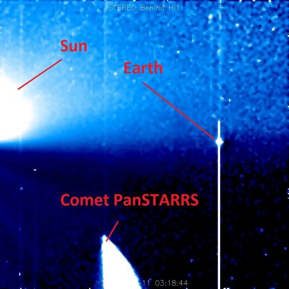 The view of Comet PanSTARRS from NASA's STEREO Behind observatory. (Credit: NASA/SECCHI).