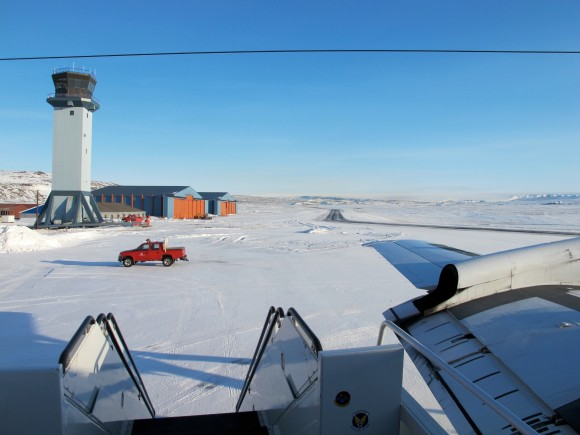 A sunny view of the ramp at Thule Air Base, Greenland, shortly after the NASA P-3B research aircraft arrived on Mar. 18, 2013. Credit: NASA / Jim Yungel