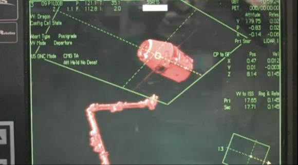 SpaceX Dragon was released from ISS at 6:56am ET and now begins its return trip to Earth. Credit: NASA