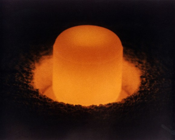A marshmellow-sized Pu-238 pellet awaits a space mission. (Credit: The Department of Energy).