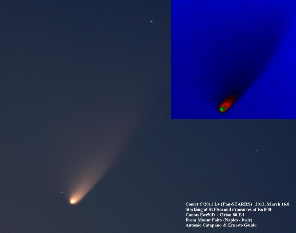 Comet C/2011 L4 (PANSTARRS) taken on March 16 from Mount Faito (Naples, Italy). Credit and copyright: Ernesto Guido &amp; Antonio Catapano