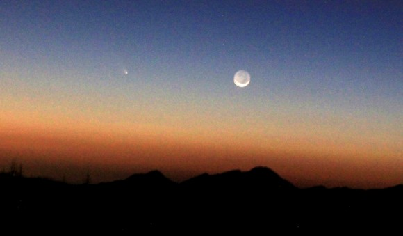 Comet PANSTARRS over the San Gabriel mountains on 3/12/2013 above Pasadena,CA,  3-4 miles from Mt.Wilson. Shot with a with Canon 60D. Credit and copyright: Henry Levenson. 