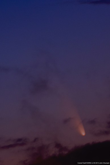 Comet PANSTARRS as seen through the clouds in Indianapolis, Indiana. Credit: John Chumack.
