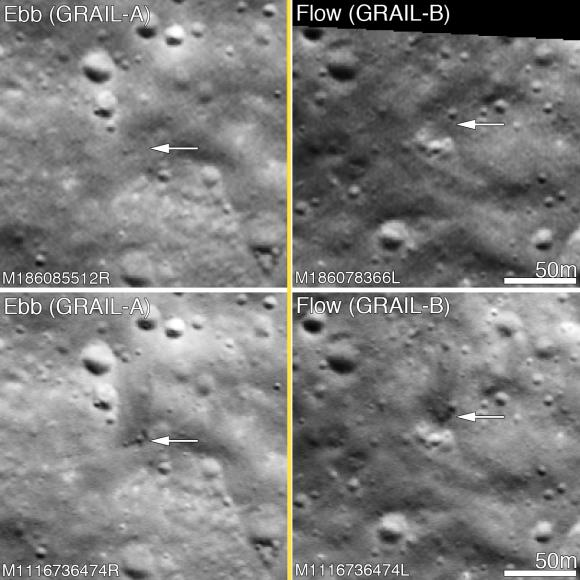 Before and after the GRAIL twins impacts on the Moon December 17, 2012. The LROC Narrow Angle Camera (NAC) directors were able to resolve the impact sites on February 28, 2013, revealing both to be about 5 meters in diameter. Upper panels show the area before the impact; lower panels after the impact. Arrows point to crater locations. LROC NAC observations M186085512R, M186078336L, M1116736474R and M1116736474L. Credit: NASA/GSFC/Arizona State University.
