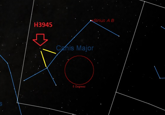 The location of Herschel 3945 in Canis Major. (Created by Author in Starry Night).
