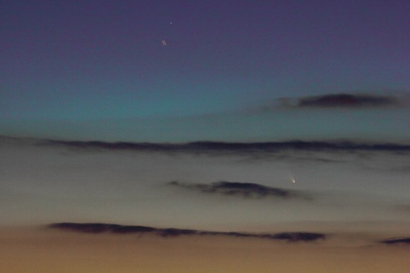 Comet Pan-STARRS from Holland on March 15, 2013 at about 7:45 PM, shortly after sunset - Canon 60D camera, Canon 100/400 mm lens, exposure time 15 seconds, ISO 300.   Credit: Rob van Mackelenbergh