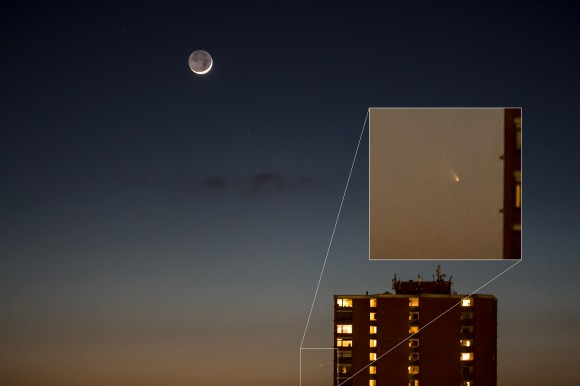 Comet PANSTARRS as seen from  Aarhus, Denmark (56.2 N, 10.2 E). Credit and copyright: Jens Riggelsen.