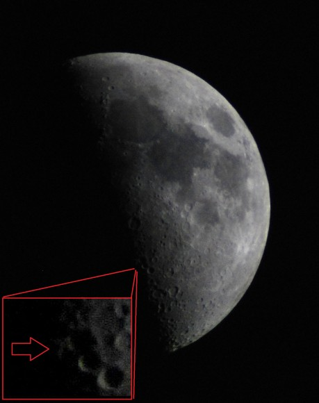 A 1st Quarter Moon with the Lunar X (inset). (Photo by Author).