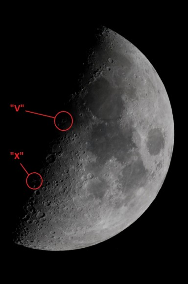 A simultaneous capture of the Lunar X &amp; the Lunar V features. (Photo by Author).