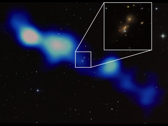Overlay of the new GRG (blue-white colors) on an optical image from the Digitized Sky survey. The inset shows the central galaxy triplet (image from Sloan Digital Sky Survey). The image is about 2 Mpc across.