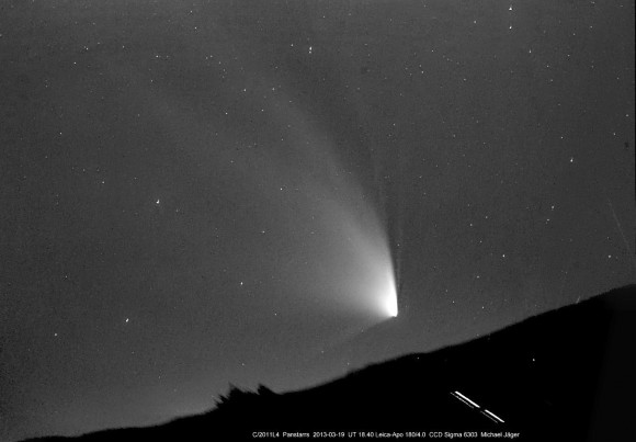 Multiple exposures of Comet PANSTARRS taken on March 19 were stacked to create this amazing image. The field of view is about 6 by 4 degrees. Details: Leica-Apo180mm lens at f/4. Click to enlarge. Credit: Michael Jaeger