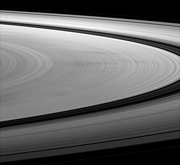 Under the right lighting conditions spokes can appear dark, as seen in this image from Jan. 2010 (NASA/JPL/SSI)