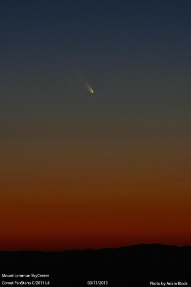 Comet PANSTARRS on March 11, 2013. Credit: Adam Block/Mount Lemmon Sky Center.