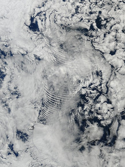 Coil-like shapes in clouds, created by their passage over the Prince Edward Islands in the