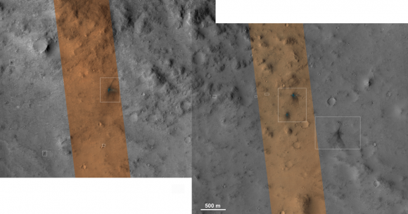HiRISE images of MSL's impact craters (NASA/JPL/University of Arizona)