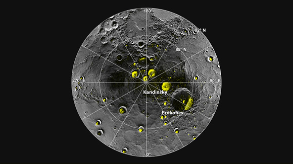 A radar image of Mercury's north polar region is shown superposed on a mosaic of MESSENGER images of the same area. All of the larger polar deposits are located on the floors or walls of impact craters. Deposits farther from the pole are seen to be concentrated on the north-facing sides of craters. Credit: NASA/Johns Hopkins University Applied Physics Laboratory/Carnegie Institution of Washington/National Astronomy and Ionosphere Center, Arecibo Observatory