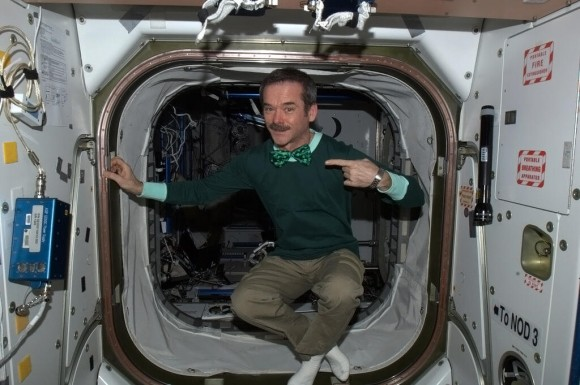Chris Hadfield all dressed up for another day in space. Credit: Chris Hadfield (Twitter)