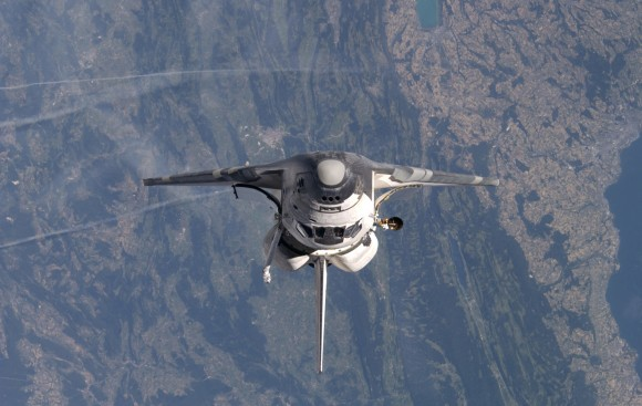 Discovery during STS-114, as seen from the International Space Station. CREDIT: NASA