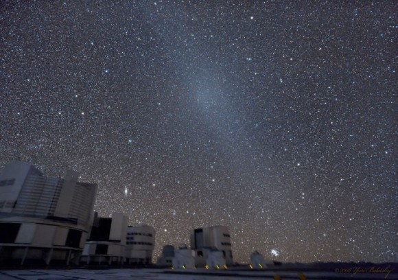 The gegenschein is the small, oval glow within the zodiacal band seen in this photo taken at the European Southern Observatory in Chile. Credit: ESO / Yuri Beletsky